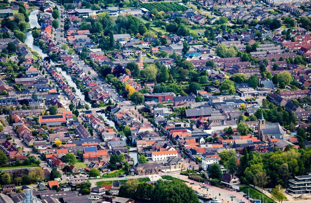 Bovenaanzicht van de centrale as in Numansdorp.